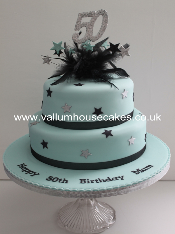 Aqua Black 50th Birthday Cake ResizedJPG